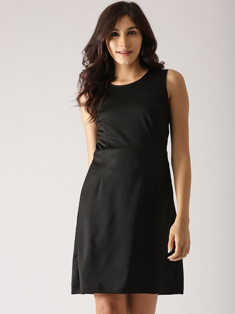Black Solid Fit & Flare Dress (Fully Stitched) | Znx4ever.com