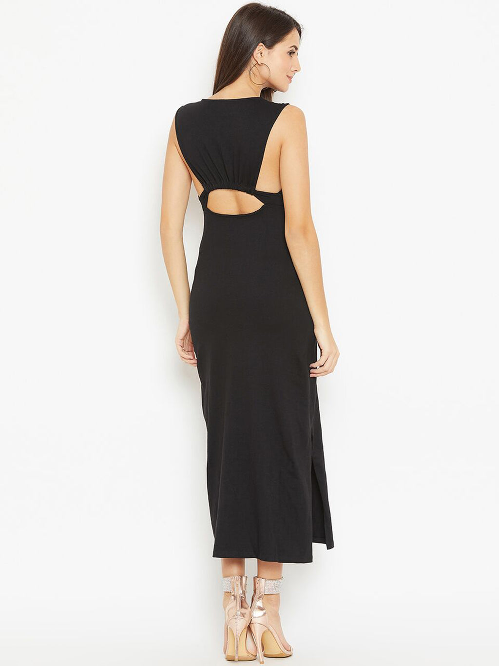 Back Fanny Cut Out Maxi Dress | Znx4ever.com