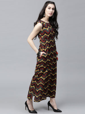 Multicolored Printed Sleeveless Maxi (Fully Stitched) | Znx4ever.com