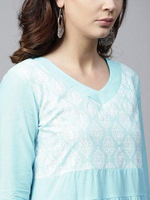Sky Blue Khari Printed Tiered Anarkali (Fully Stitched) | Znx4ever.com