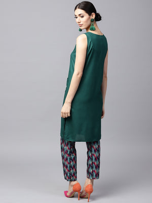 Green Embroidered Kurta With Printed Pant (Fully Stitched) | Znx4ever.com