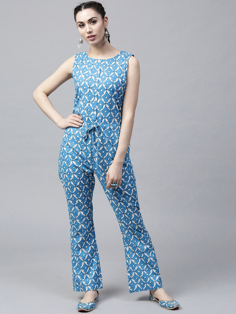 Blue & White Printed Sleeveless Jumpsuit | Znx4ever.com
