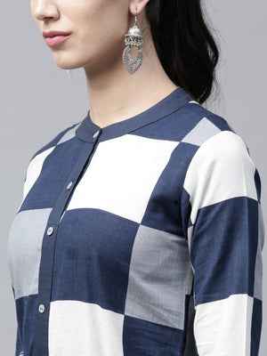 Blue & White Check Printed Button Down Kurta (Fully Stitched) | Znx4ever.com