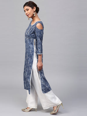 Blue & White Printed Cold Shoulder Kurta (Fully Stitched) | Znx4ever.com