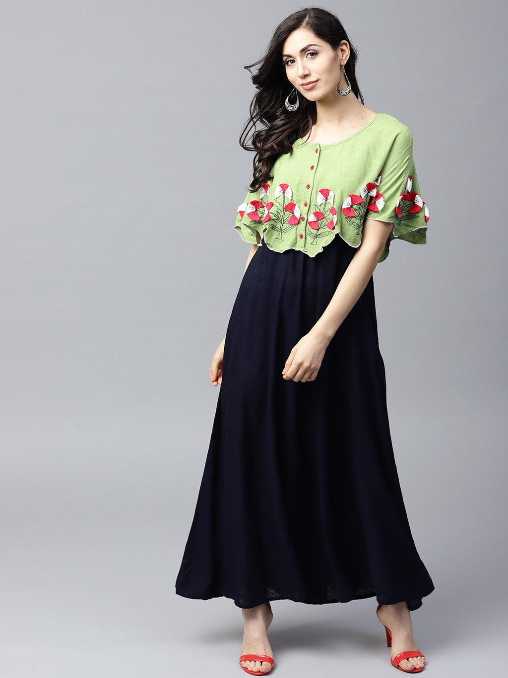 Navy Blue & Green Embroidered Yoke Cape Design Maxi (Fully Stitched) | Znx4ever.com