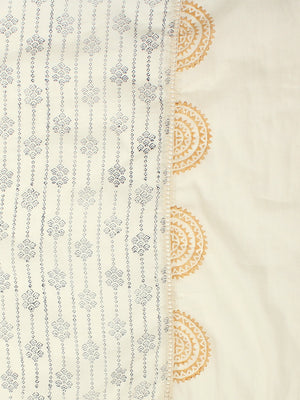 White & Blue Pottery Block Printed Dupatta | Znx4ever.com