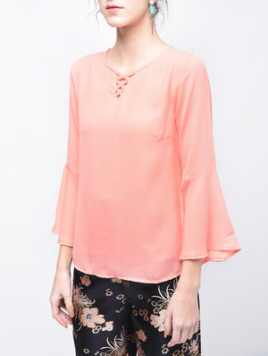 Pink Bell Sleeved Top | Znx4ever.com