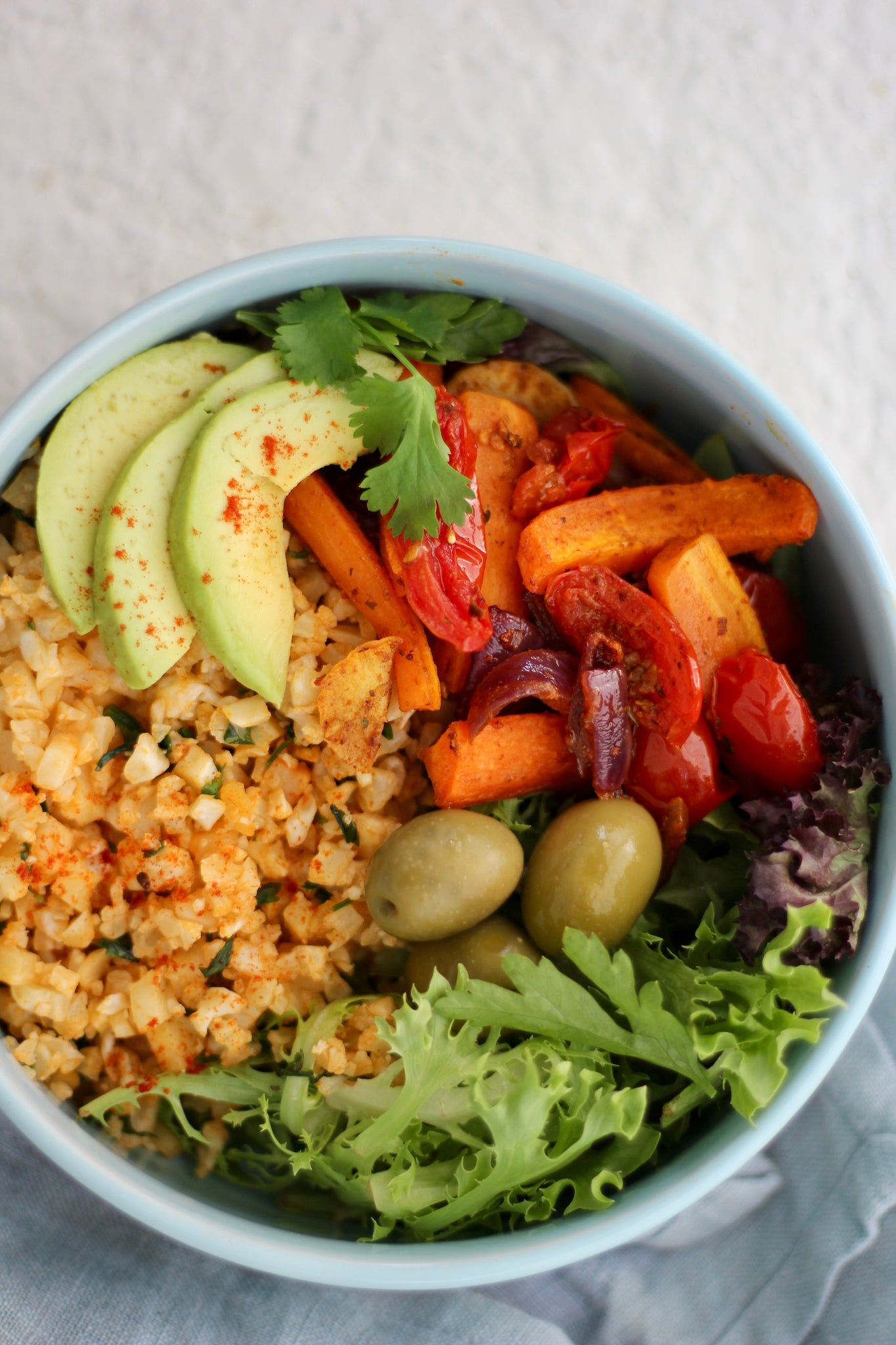 Moroccan Roast Vege + Cauliflower Rice Bowl