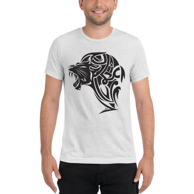 Short sleeve tri-blend Lion t-shirt - White - Unfazed Tees