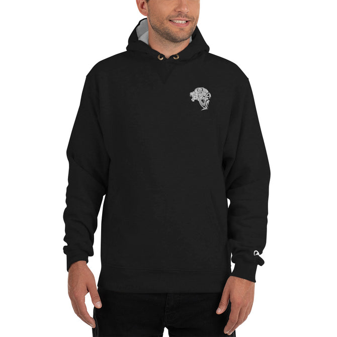 Champion Embroidered Winter Lion Hoodie - Black - Unfazed Tees