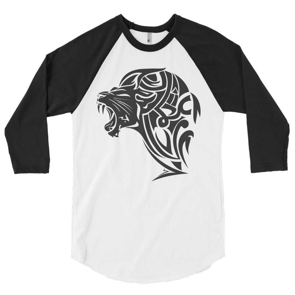 3/4 sleeve raglan shirt - White/Black - Unfazed Tees