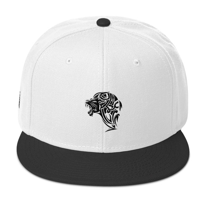 White & Black Snapback Lion Hat - Unfazed Tees