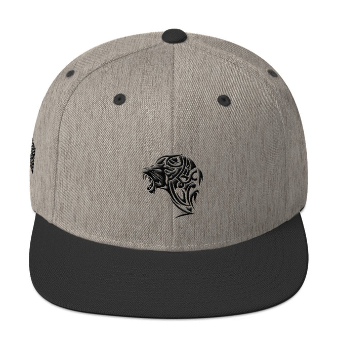 Heather Grey & Black Snapback Lion Hat - Unfazed Tees