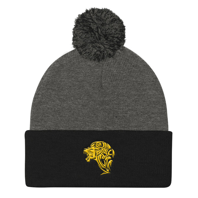 Lion Black & Grey Pom Pom Knit Cap - Unfazed Tees