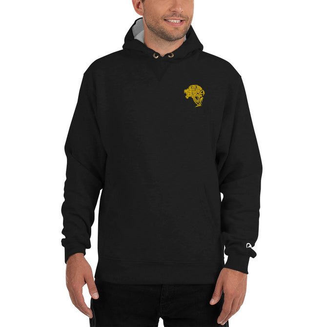 Champion Embroidered Gold Lion Hoodie - Black - Unfazed Tees