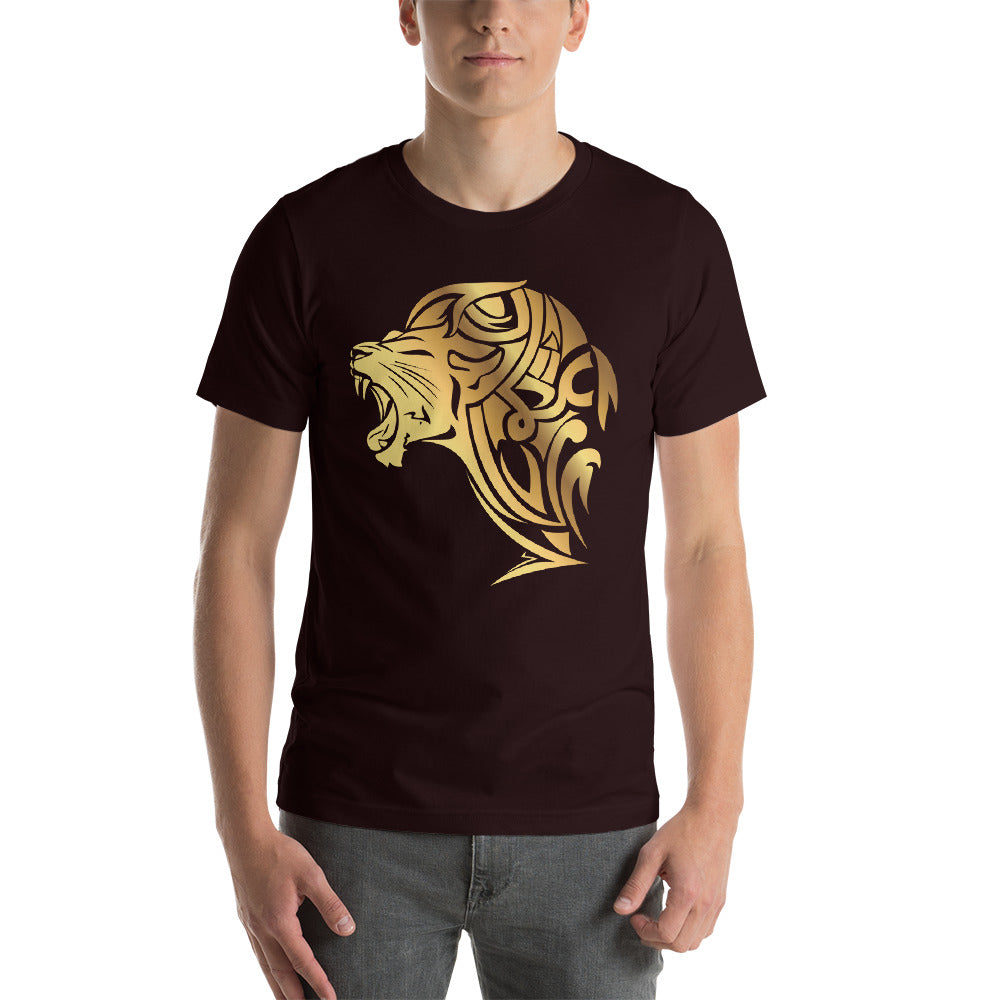 Short-Sleeve UnFazed Gold Lion T-Shirt - Black - Unfazed Tees