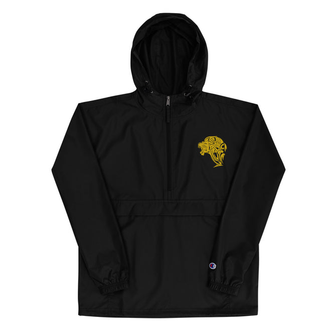 Women's Embroidered Champion Packable Jacket - Black - Unfazed Tees