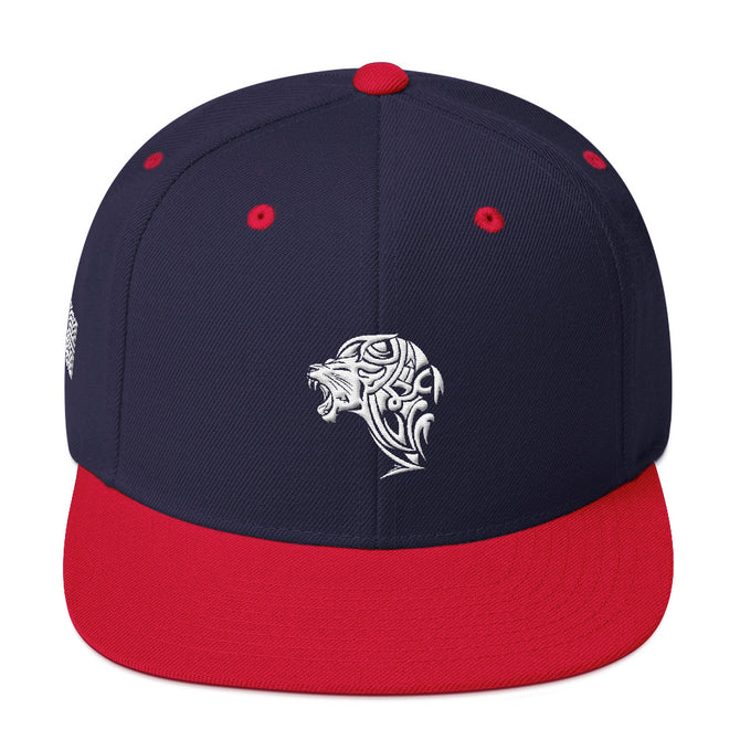 Navy Red Snapback Lion Hat - Unfazed Tees