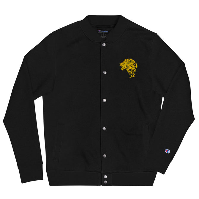 Women's Embroidered Champion Bomber Jacket - Black - Unfazed Tees
