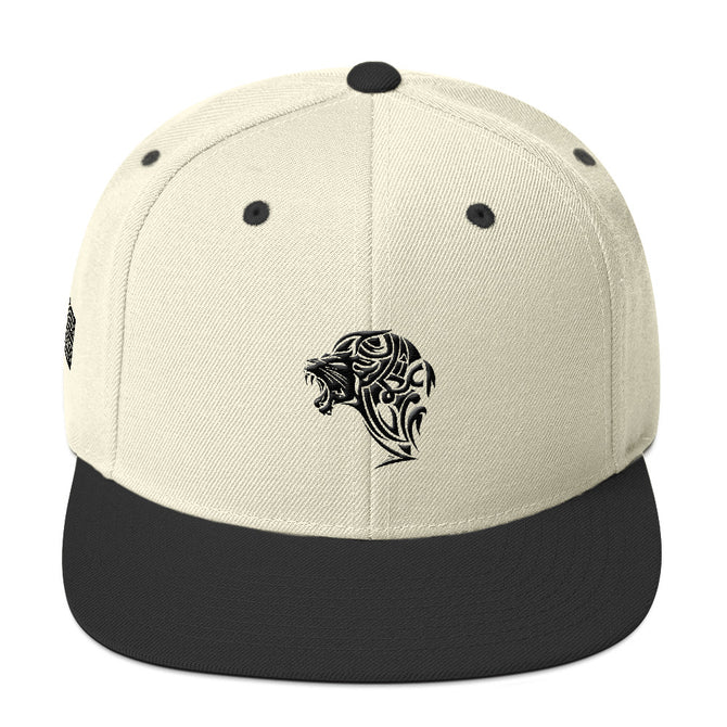Black & Natural Creme Snapback Lion Hat - Unfazed Tees