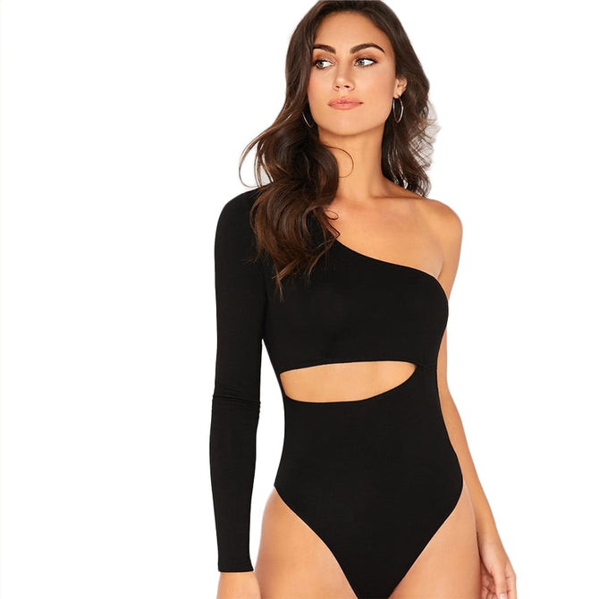 One Shoulder Peek-a-boo Bodysuit - Black - Unfazed Tees