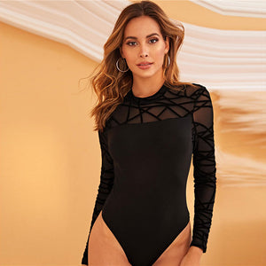 Black Widow Mesh bodysuit - Black - Unfazed Tees