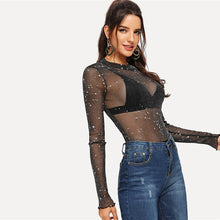 Load image into Gallery viewer, Sheer and Sparkle Bodysuit - Black / Transparent - Unfazed Tees
