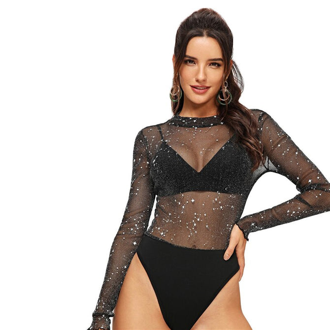 Sheer and Sparkle Bodysuit - Black / Transparent - Unfazed Tees