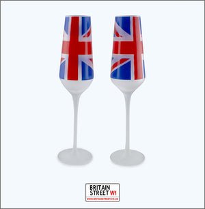 Set of 2 Union Jack Champagne Flutes - Britain Street