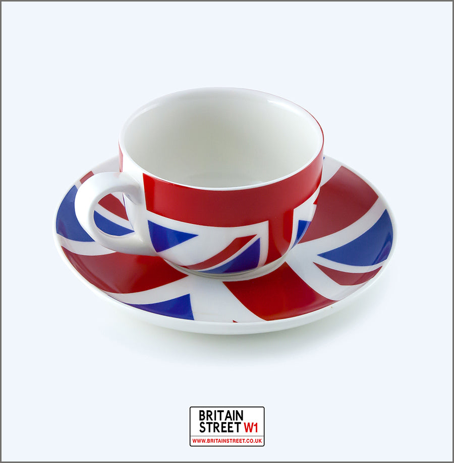 Handmade Union Jack cup and saucer - Britain Street