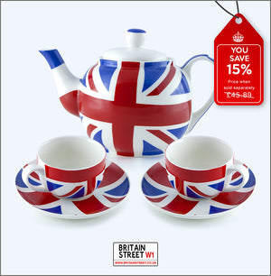 Handmade Union Jack Tea Set - 'Tea For Two' Deal - Britain Street