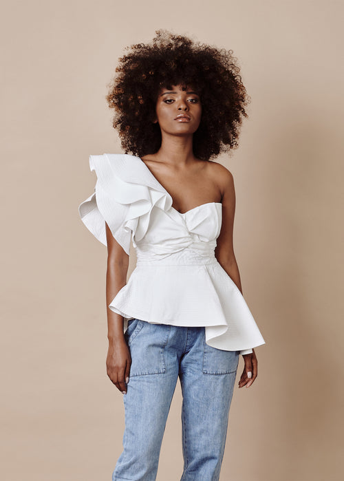 LYDIA ONE-SHOULDER RUFFLED WHITE TOP