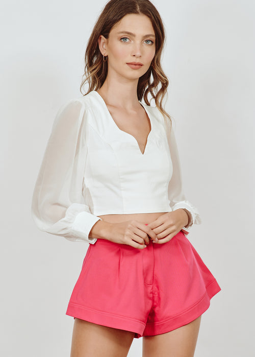 BRANDY CROPPED WHITE BLUS