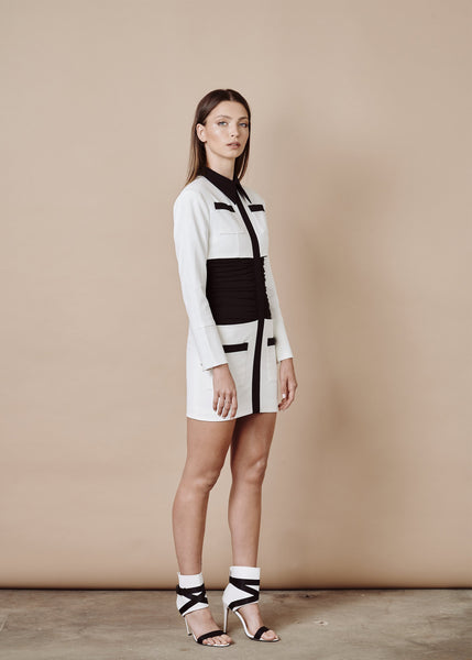 TANYA BLACK & WHITE MINI VESTIDO