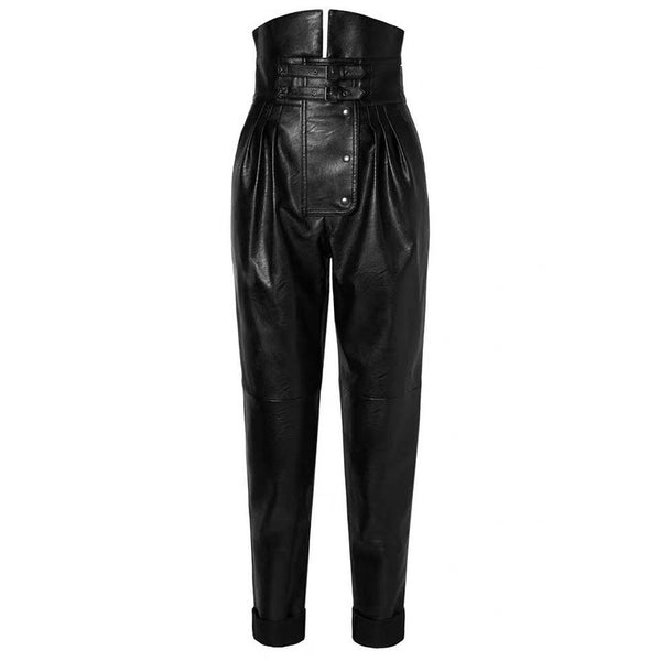 Katie Faux-Leather High Waist Ruched Asymetrical Pants - LuxeFusion