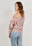 ELISA SLANTED SHOULDER STRAP STRIPED PINK SHIRT