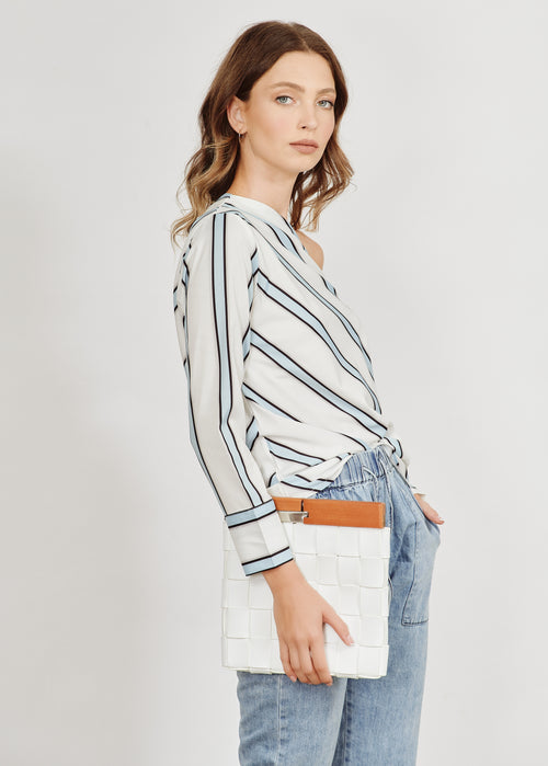 ELISA SLANTED SHOULDER STRAP STRIPED BLUE SHIRT