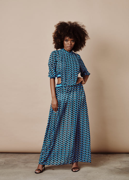 SANDRA BLUE CUTOUT-SIDE MAXI DRESS
