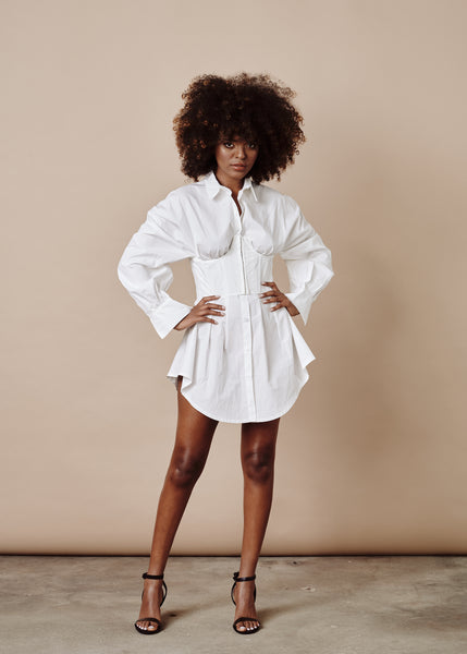 SHARON SHIRT WAIST MINI DRESS WITH CORSET