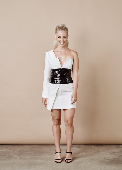 NICKY WHITE BLAZER MINI DRESS
