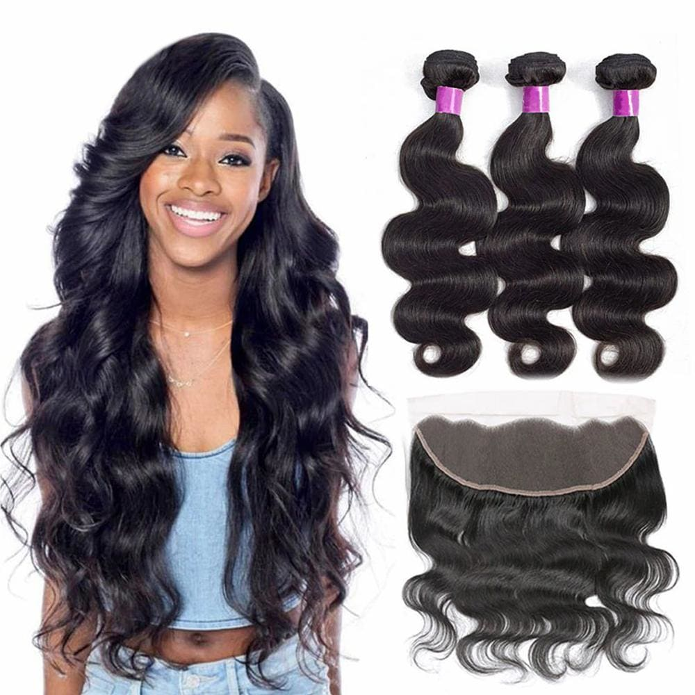 13*4 Frontal and 3 Bundles Body Wave Swiss Lace Virgin Human Hair