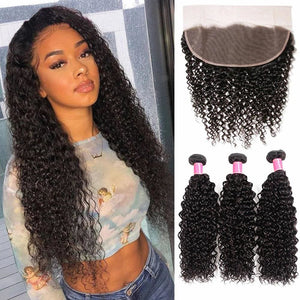 13*4 Frontal and 3 Bundles Curly Swiss Lace Virgin Human Hair