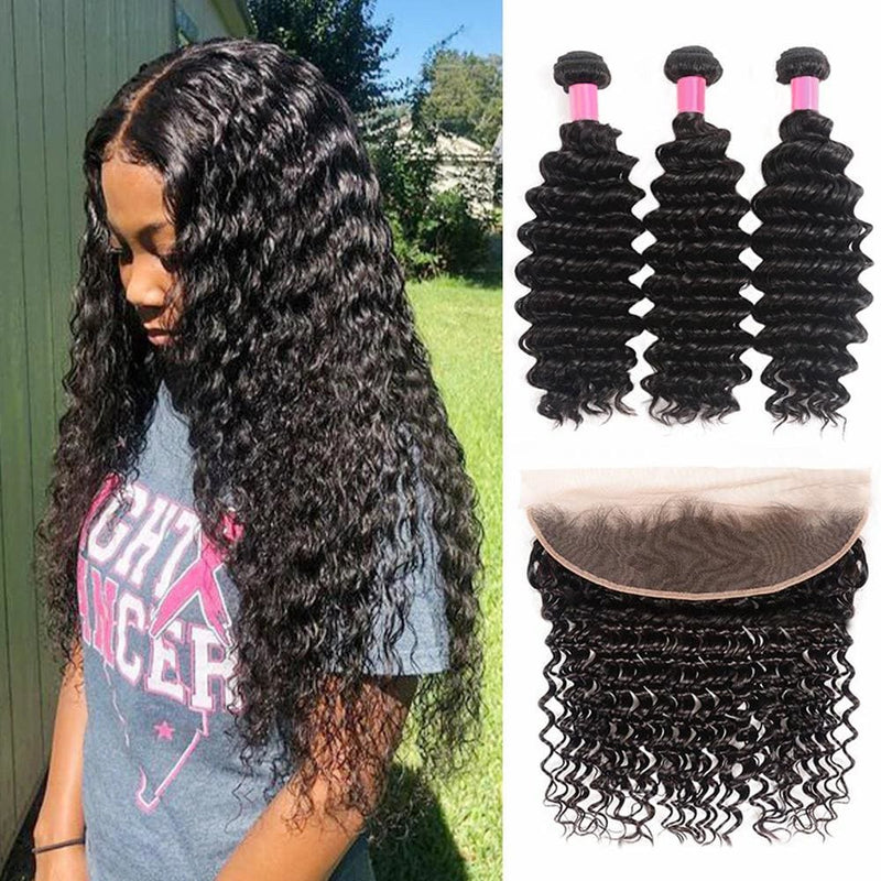 13*4 Frontal and 3 Bundles Deep Wave Swiss Lace Virgin Human Hair