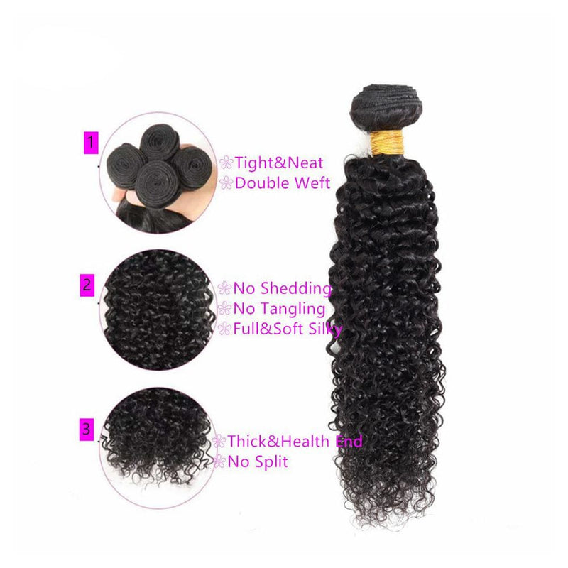 13*4 Frontal and 3 Bundles Kinky Curly Swiss Lace Virgin Human Hair