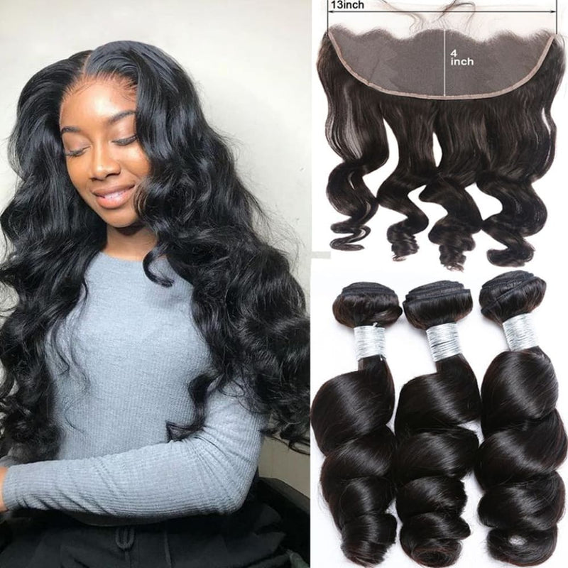 13*4 Frontal and 3 Bundles Loose Wave Swiss Lace Virgin Human Hair