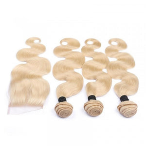 3 Bundles #613 Blonde Body Wave Hair Weave With Pre-Plucked Natural Hairline Lace Closure