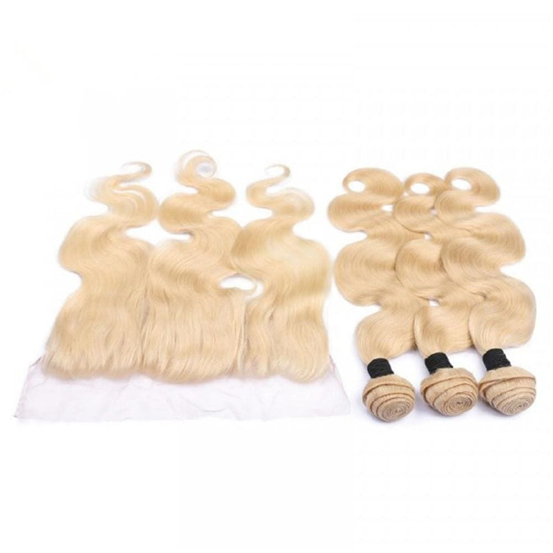 3 Bundles Body Wave #613 Blonde Hair Weave With Pre-Plucked Natural Hairline Lace Frontal