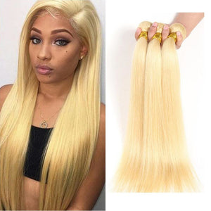 3 Pcs/pack #613 Blonde Brazilian Hair Weave Silky Straight