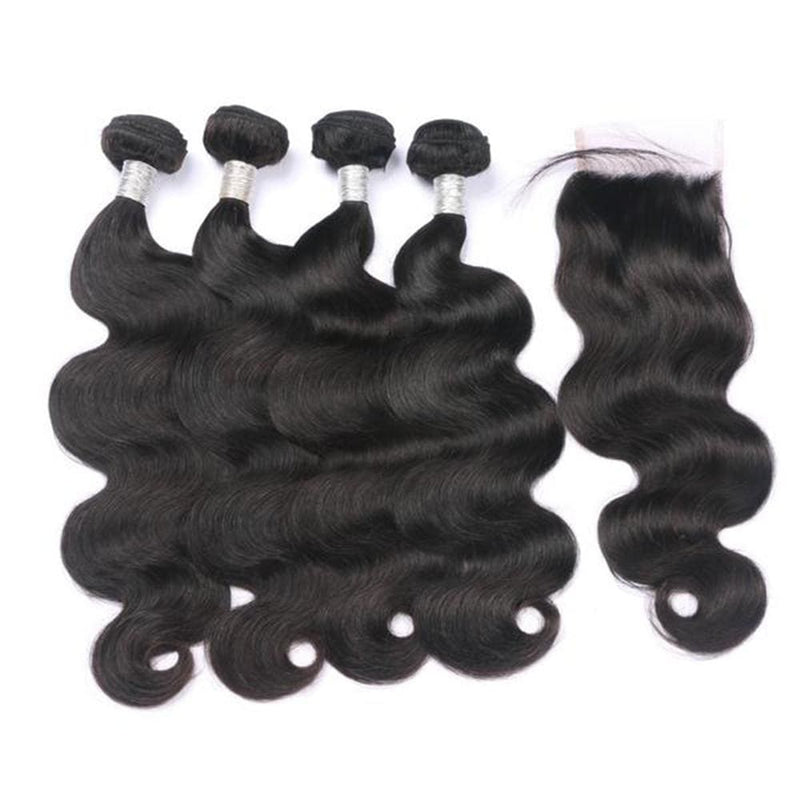 4 Bundles Body Wave Hair Weave With Pre-Plucked Natural Hairline Lace Closure