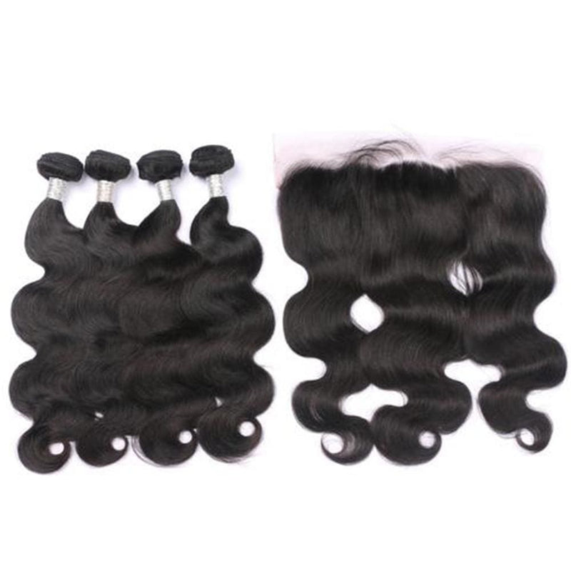 4 Bundles Body Wave Hair Weave With Pre-Plucked Natural Hairline Lace Frontal